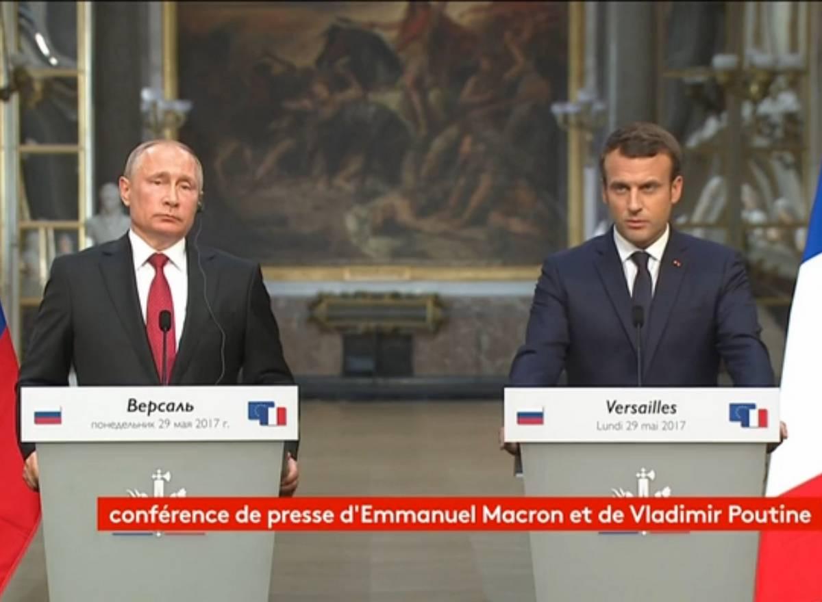 Emmanuel Macron Vladimir Poutine Tchétchénie conférence de presse