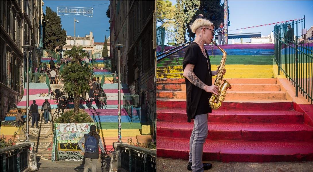 Marseille : une rue repeinte aux couleurs des drapeaux LGBT et trans'