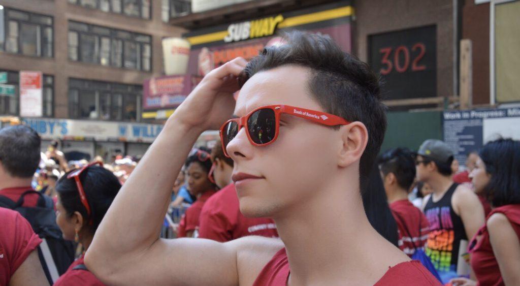 Maxime Haes lors de la Pride à New York. © Maxime Haes