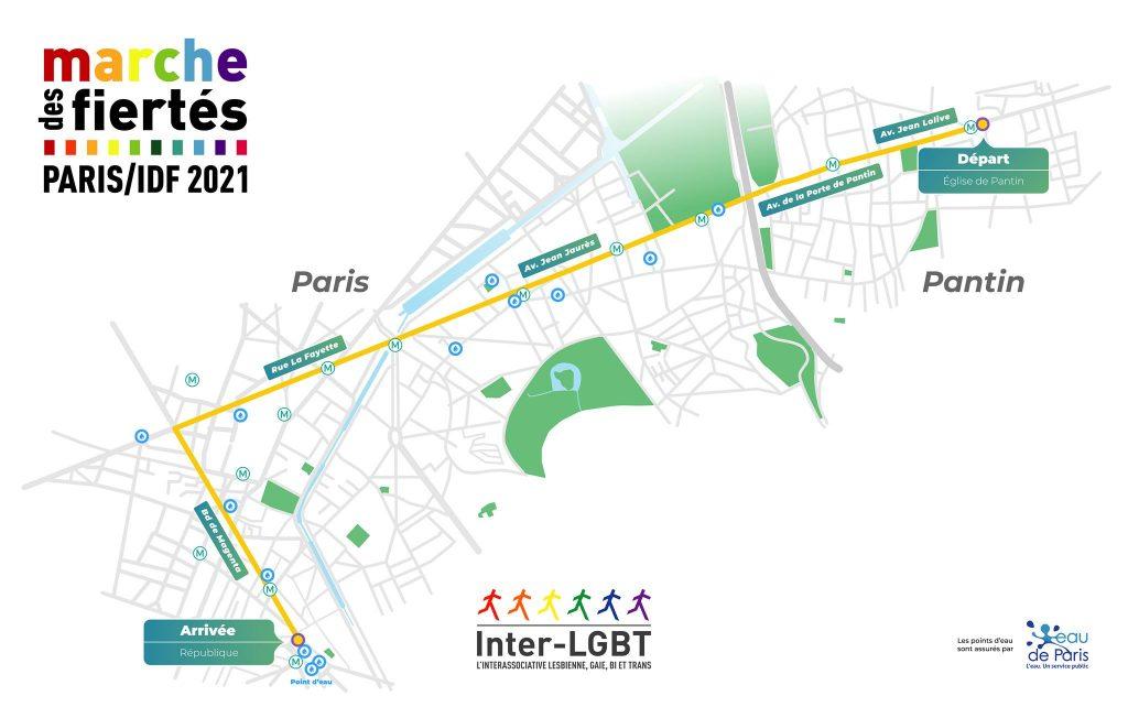 Parcours de la pride de Paris 2021